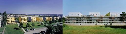 Sumažinti stambiaplokščių pastatų tūriai. Leinefelde, Halle VFR (projektavo arch. Stefan Forster biuras).