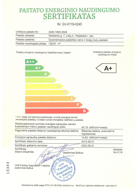 Energinio naudingumo sertifikatas