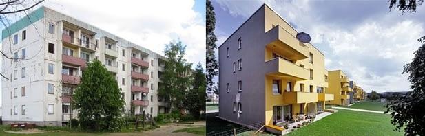 Vaizdas iki ir po renovacijos. Leinefelde, VFR (projektavo arch. Stefan Forster biuras).