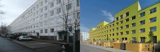 Vaizdas iki ir po renovacijos. Halle, Vokietija (projektavo arch. Stefan Forster biuras).
